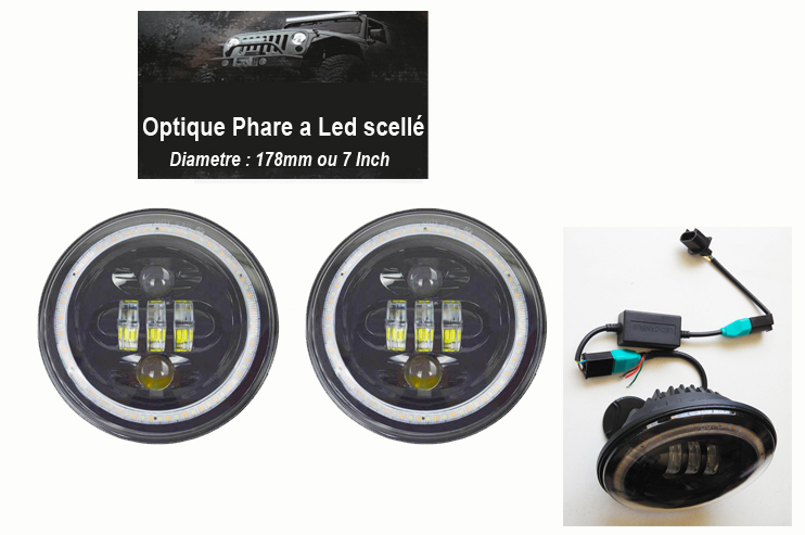 Led-Optique Phare scellé 50W, la paire