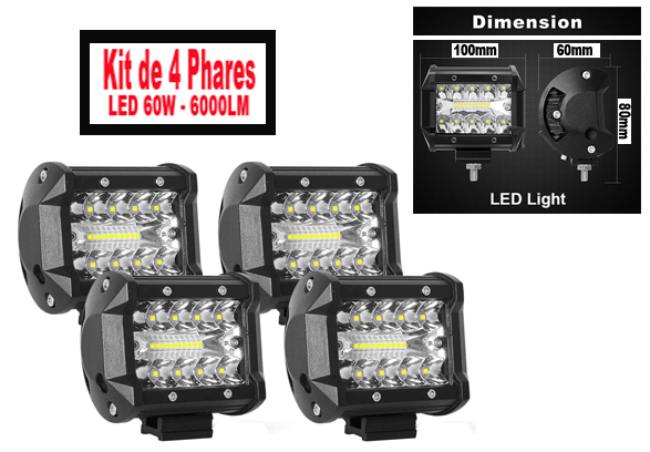Kit 4 phares LED-30W